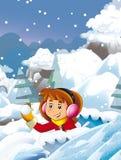 Cartoon child girl having fun playing snow fight Royalty Free Stock Photo