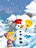 Cartoon child girl making happy and big snowman Stock Images
