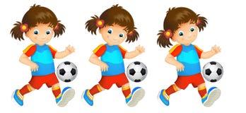 Cartoon child - girl - playing football - activity Royalty Free Stock Image