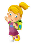 Cartoon child going to school - illustration for children Royalty Free Stock Image