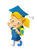 Cartoon child going to school - illustration for children Stock Image