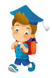 Cartoon child going to school - illustration for children Royalty Free Stock Photos