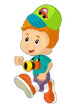 Cartoon child having fun - illustration for the children Stock Photo