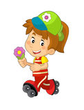 Cartoon child having fun - illustration for the children Royalty Free Stock Photo