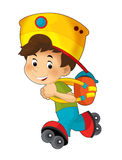 Cartoon child having fun - illustration for the children Royalty Free Stock Image