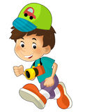 Cartoon child having fun - illustration for the children Stock Images