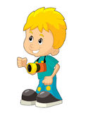 Cartoon child having fun - illustration for the children Stock Photography