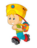 Cartoon child having fun - illustration for the children Royalty Free Stock Photography
