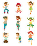 Cartoon child jump icons Royalty Free Stock Photos