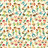 Cartoon child jump seamless pattern Stock Photos