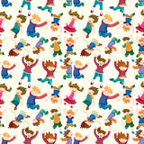 Cartoon child jump seamless pattern Royalty Free Stock Images