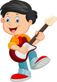 Cartoon child play a guitar Stock Photography