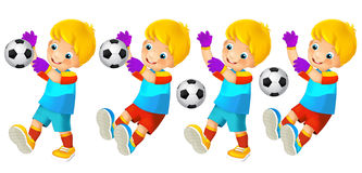 Cartoon child playing football - activity Royalty Free Stock Photos