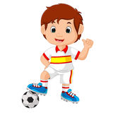 Cartoon child playing football Royalty Free Stock Images