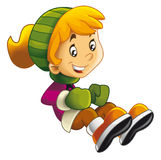 Cartoon child sitting or jumping - moving - activity - isolated Royalty Free Stock Photo