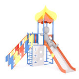 Cartoon Child Sliding Down Slide on Playground. Generic 3d Rendered Childlike Cartoon Character Sliding Down Slide on Playground in front of White Background Royalty Free Stock Photography