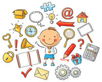 Cartoon Child with Symbols Royalty Free Stock Photography