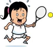 Cartoon Child Tennis. A cartoon illustration of a child playing tennis Stock Photo