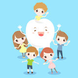 Cartoon child with tooth. On the blue background royalty free illustration