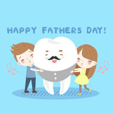 Cartoon child and tooth. Cute cartoon children and tooth on the blue background stock illustration