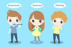 Cartoon child with tooth. Health concept on the blue background Stock Photos