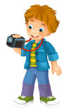 Cartoon child tourist. Happy and colorful illustration for the children Royalty Free Stock Photography