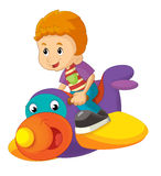 Cartoon child on a toy plane - isolated Stock Image