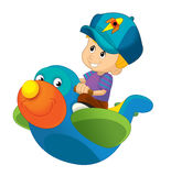 Cartoon child on a toy plane - isolated Stock Photography