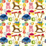 Cartoon child toy seamless pattern. Drawing Stock Image
