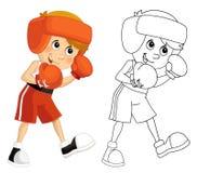 Cartoon child training - box - isolated Royalty Free Stock Image