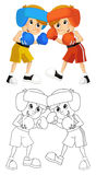 Cartoon child training - boxing - isolated Royalty Free Stock Images