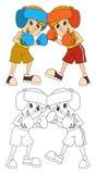 Cartoon child training - boxing - isolated Royalty Free Stock Photography