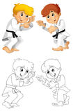 Cartoon child training - coloring page -  Stock Photo