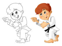 Cartoon child training - coloring page -  Royalty Free Stock Photo