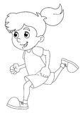 Cartoon child training - girl - coloring page - isolated. Happy and colorful traditional illustration for children Stock Image