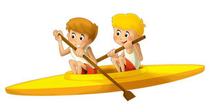 Cartoon child training - illustration for the children Royalty Free Stock Images