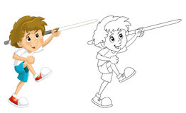 Cartoon child training - throwing spear -  - coloring page Stock Image