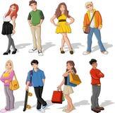 Cartoon children. Group of colorful cartoon children. Teenagers. EPS 10 Stock Photo