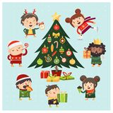 Cartoon children and adults gathered around Christmas tree decorated with various toys and gifts. stock illustration