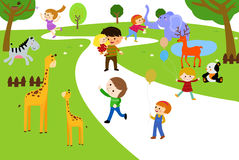 Cartoon children and animals Royalty Free Stock Photography