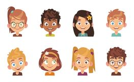Free Cartoon Children Avatars. Joyful Preschool Smiling Multiethnic Kids, Profile Portrait Young Happy School Girl And Boy Royalty Free Stock Photos - 198814648