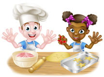 Cartoon Children Bakers Cooking Royalty Free Stock Photography