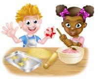 Cartoon Children Baking Royalty Free Stock Photography
