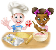 Cartoon Children Baking Stock Photography