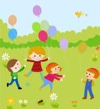 Cartoon children and balloon Royalty Free Stock Photos