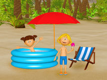 Cartoon children on the beach Royalty Free Stock Photo