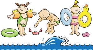 Cartoon children on a beach. Vector cartoon illustration with fun children on a beach Stock Photo