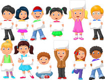 Cartoon children with blank sign. Illustration of Cartoon children with blank sign Royalty Free Stock Photography