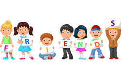 Cartoon children with blank sign Royalty Free Stock Photos
