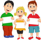 Cartoon children with blank sign. Vector illustration of Cartoon children with blank sign isolated on white Royalty Free Stock Photography